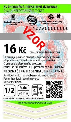 MHD Jízdenka Praha 16Kč