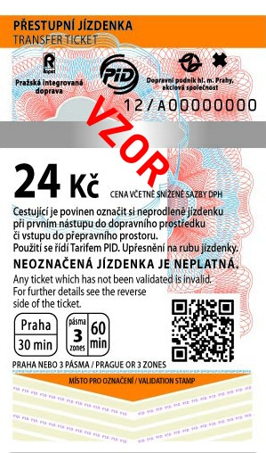 MHD Jízdenka Praha 24Kč