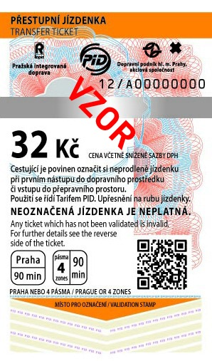 MHD Jízdenka Praha 32Kč